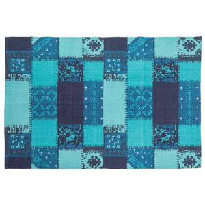 ラグマット/絨毯 【190cm×130cm ブルー】 長方形 コットン製 裏面:スベリ止め加工 TTR-132BL