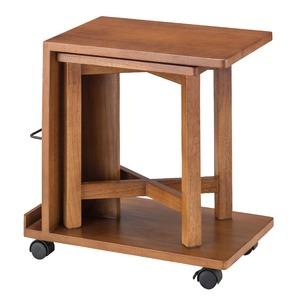 キャスター付きサイドテーブル&スツールセット 【テーブル:幅50cm】 木製 天然木 木目調 〔インテリア家具 什器〕 の画像