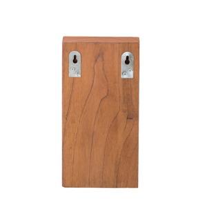 天然木 キーボックス/鍵収納ラック 【壁掛け式】 幅13cm×奥行10cm×高さ25cm 真鍮トレー付き 木目調