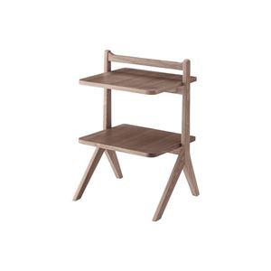 サイドテーブル/ミニテーブル 【ブラウン】 幅45cm 木製 棚板2枚 〔リビング ダイニング ベッドルーム 寝室〕