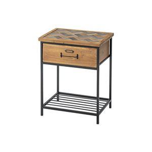 引き出し付き サイドテーブル 【幅40cm】 木製 スチール 棚板1枚付き 〔リビング ダイニング ベッドルーム 寝室〕