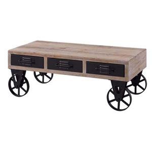モダン ローテーブル/センターテーブル 【幅102cm】 木製 スチール キャスター付き 『ホイール テーブル』 〔リビング 店舗〕