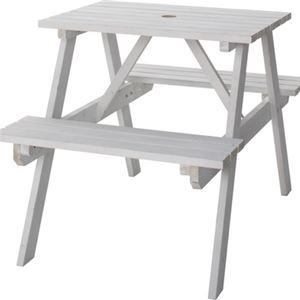 テーブル&ベンチW75ホワイト【幅:75cm】天然木ODS-91WH
