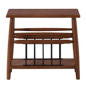 サイドテーブル/ミニテーブル 【ブラウン 幅50cm】 木製 アイアン マガジンラック付き 『ティンバー』 〔リビング ダイニング〕