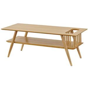 棚付き ローテーブル/センターテーブル 【ナチュラル 幅105cm】 長方形 木製 〔リビング 店舗 飲食店〕