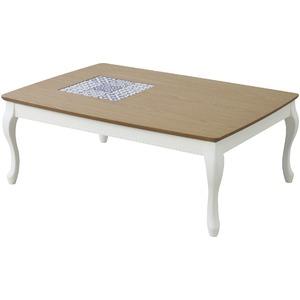 リビングこたつテーブル(アリス) 長方形(105cm×75cm) 本体 木製 KT-101WH ホワイト(白) - 拡大画像