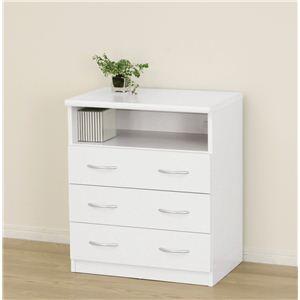《白い家具工房》ホワイト4段チェスト(収納・TVボード) 23684 【組立】 - 拡大画像