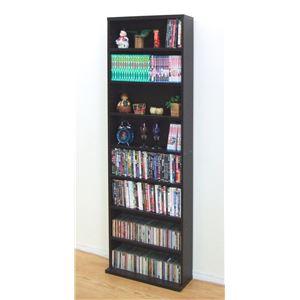文庫書棚/本棚 幅60cm×奥行22cm×高さ180cm 木製 ブラウン 【組立】 - 拡大画像