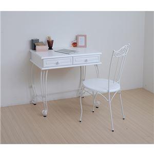 アンティーク調 ダイニングチェア/食卓椅子 【ホワイト 幅42cm】 スチールフレーム 木製 脚付き 『アイアンシリーズ』 - 拡大画像
