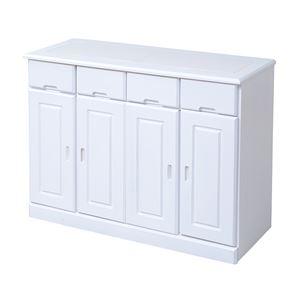 キッチン収納カウンター4列 ホワイト ZFC-0061-WH - 拡大画像