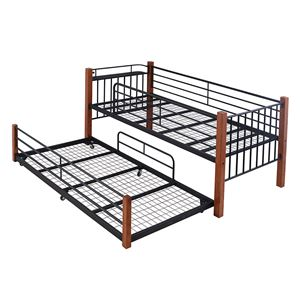 JKプラン 天然木デザイン親子ベッド IRI-0035-BKBR ブラック/ブラウン - 拡大画像