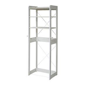 小型冷蔵庫対応 木製ラック/キッチン収納 【ホワイト】 幅60cm 可動棚 フック 落下防止バー 横揺れ対策バー付き