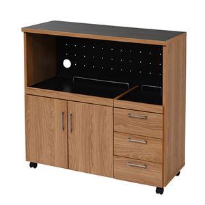 Keittio 北欧キッチンシリーズ 幅90cm キッチンカウンター レンジ収納 北欧テイスト 木製 家電収納カウンター キャスター付き 間仕切り キッチン収納 ナチュラルブラック FAP-0030-NABK