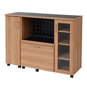 Keittio 北欧キッチンシリーズ 幅120cm キッチンカウンター 収納庫付き 北欧調 オーブンレンジ対応 キャビネット付き 木製 オシャレ 間仕切りカウンター ナチュラルブラック FAP-1022SET-NABK