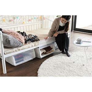 アイアン デイベッド/ソファーベッド 【ホワイト シングル/フレームのみ】 幅104.5cm 高さ調節 床下収納 スチールフレーム付き