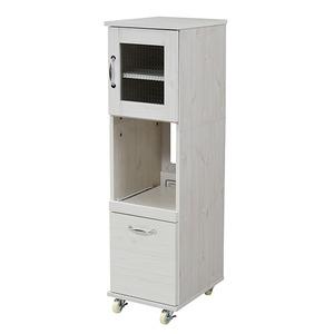 【レンジ台 隙間タイプ(ロー) ホワイト FLL-0067-WH】 スリム キッチンラック 食器棚 隙間タイプ