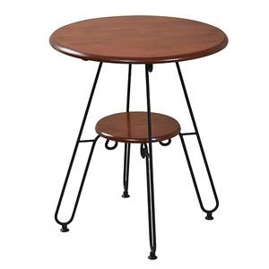カフェテーブル/センターテーブル 【ブラック 幅60cm】 2段タイプ スチールフレーム 『ロートアイアンシリーズ』 〔リビング〕