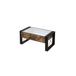 ブルックリンスタイル コレクション センターテーブル 【幅75 奥行48 高さ35cm】 引き出し ガラス テーブル ローテーブル リビング ブラックブラウン