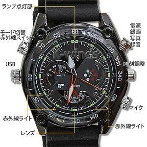 【小型カメラ】防水腕時計型ビデオカメラ (Bラバー)