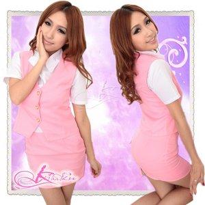 【5色】新人気分ベスト付コスプレ・OL制服 ピンク