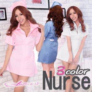 【3color】ナースコスプレ*看護服 ホワイト - 拡大画像