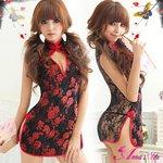 黒×赤刺繍セクシーチャイナドレス/コスプレ/コスチューム