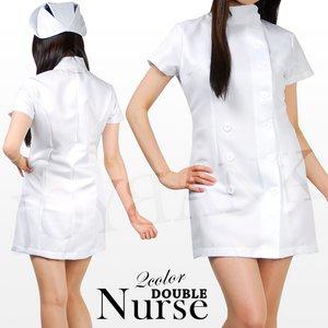 白衣の天使☆ナース服ダブルタイプ【看護服/ワンピース】 ホワイトLサイズ