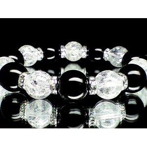 大粒14ミリ玉オニキス×12ミリ玉クラック水晶数珠(化粧箱付) - 拡大画像
