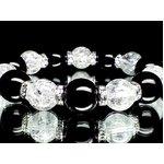 大粒14ミリ玉オニキス×12ミリ玉クラック水晶数珠(化粧箱付)
