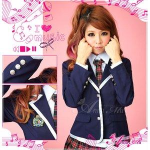 新作 紺ブレザーのキュート女子高生制服コスプレ