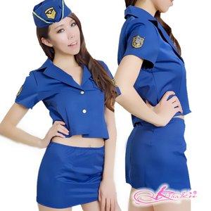 帽子付青の可愛い婦人警官コスプレ - 拡大画像
