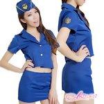 帽子付青の可愛い婦人警官コスプレ