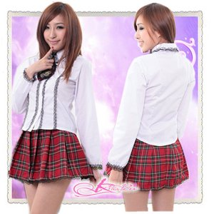 AKB 大きいリボンのアキバ少女隊のスクールコスプレ・長袖 - 拡大画像