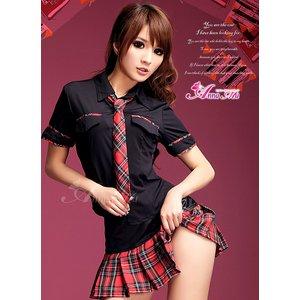 黒×赤チェック ミニスカ女子制服コスプレ コスチューム