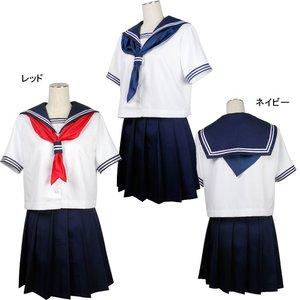 清純派☆女子高生セーラー服・半袖 【サイズM】レッド