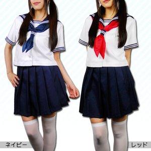 清純派☆女子高生セーラー服・半袖 【サイズL】レッド - 拡大画像