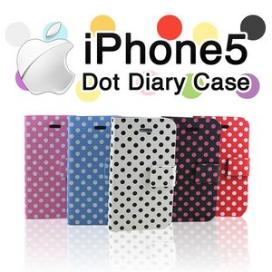 iPhone5 ケースドット柄手帳ケース au SoftBank/ピンク - 拡大画像