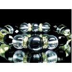 本格派ブレスレットが巾着袋付!美麗AAAヘマタイト14ミリ×64面カットオニキス12ミリ×水晶12ミリ数珠