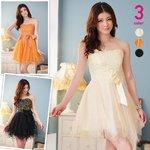 不規則ヘムラインチュール切替ベアトップドレス 橙色Mサイズ