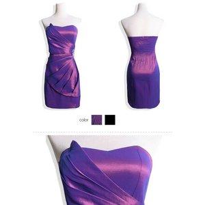 ビジュー付ベアトップサテンワンピース 紫