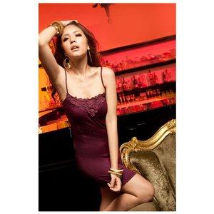 胸元レースキャミソールパーティードレス 紫