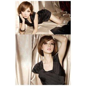 カシュクール&シャーリングドレス 黒色