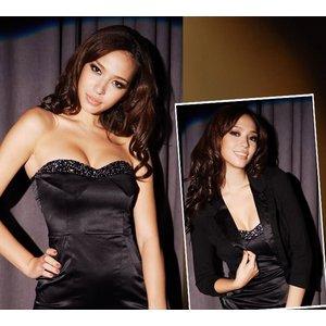ベアトップワンピース胸元デコレーション 黒