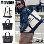 【DIVINER】ロゴプレートキャンバス&PUレザートートバッグ/ホワイト