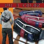 PU 3カラー ヒップバッグ ボディバッグ ウエストバッグ/レッド