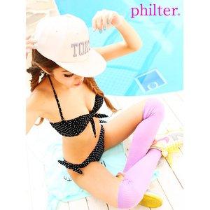 philter!2WAY♪バンドゥorホルタードット柄リボンビキニ/水着/ブラックSサイズ - 拡大画像