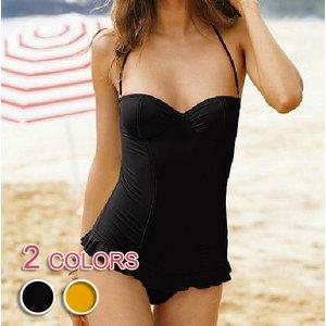 【大きいサイズ有】全2色★体型カバーワイヤー入りフリル裾ワンピース水着/ブラックLサイズ - 拡大画像
