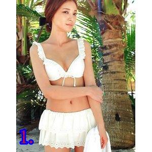 ♪ビキニ♪スカート♪水着3点セット/白Mサイズ - 拡大画像