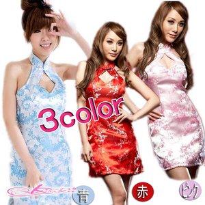 【3color】チャイナドレス&ショーツコスプレ/ピンク - 拡大画像