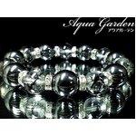 本格派ブレスレットが巾着袋付!美麗AAAヘマタイト14ミリ×ブラッククラック水晶12ミリ数珠